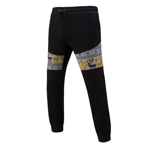 Casual and sports animal pattern design patchwork flexible sports trackpants - the-american-pandaa