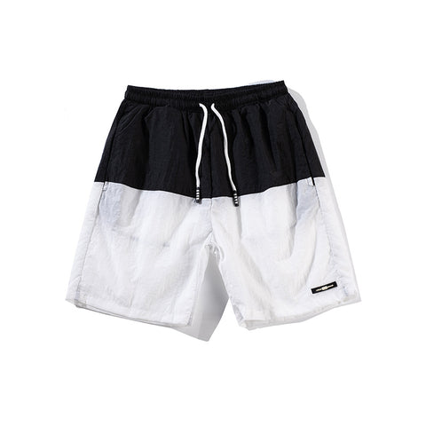 Cotton middle waist sports loose & breathable patchwork shorts for men - the-american-pandaa