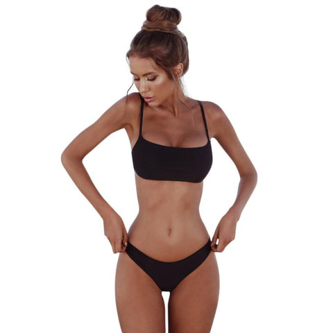 Women Solid Wire Free Female Polyester Plunge Back Closure Sexy Bra Brief Set - the-american-pandaa
