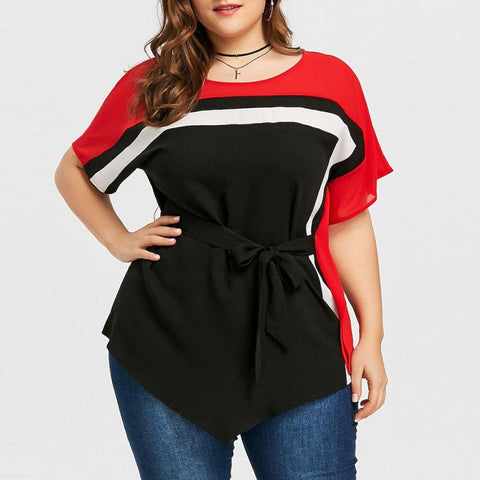 Women Spandex Batwing Sleeve with stitching belt Tops - the-american-pandaa