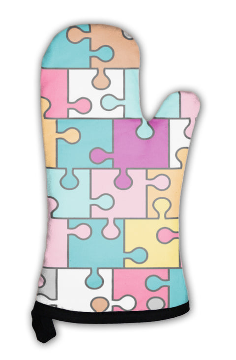 Oven Mitt, Colorful Puzzle Pattern - the-american-pandaa