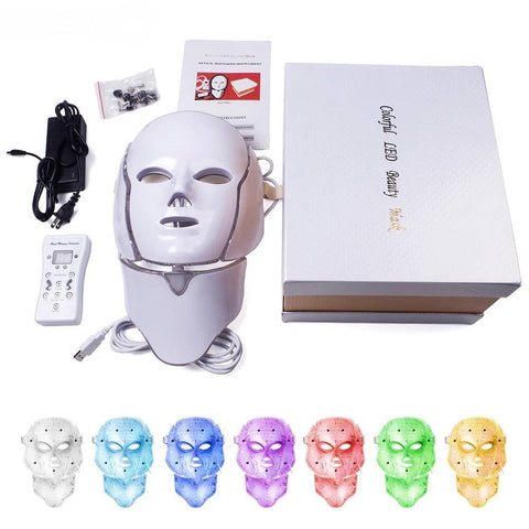 7 Colors Light LED Facial Mask With Neck Skin Rejuvenation Face Care Treatment Beauty Anti Acne Therapy Whitening Instrument - the-american-pandaa