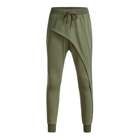 Men Casual Loose Fit Cotton Full Length Flat Spliced Trousers - the-american-pandaa