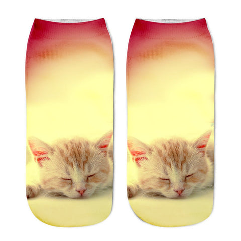 High quality fashion One Size Fits Most Cat Printed Casual Socks Polyester material - the-american-pandaa