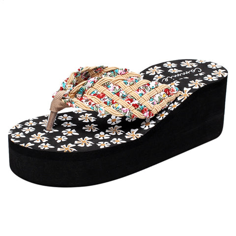 Women Cross-Strap Casual Rubber Flip Flop Wedges - the-american-pandaa