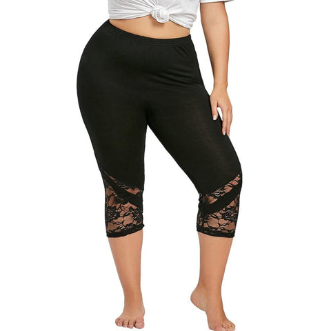 Women Fashion Lace Patchwork Three-Fourth Skinny Leggings - the-american-pandaa