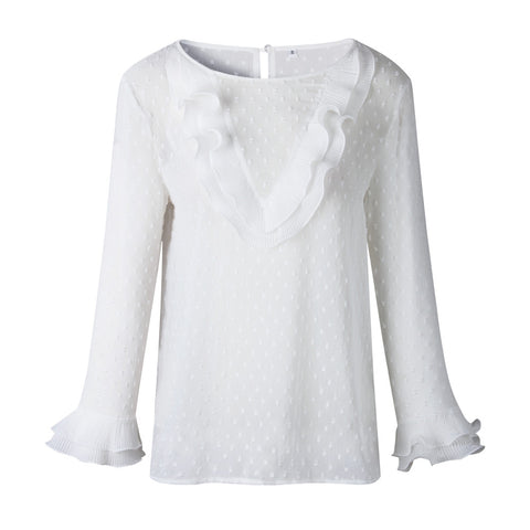 Ladies Elegant Casual Ruffles Lace Long Sleeves Top - the-american-pandaa