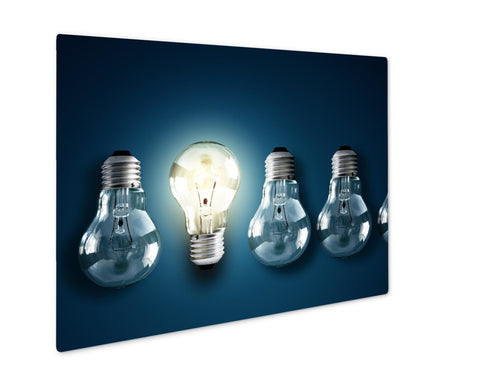 Metal Panel Print, Illuminated Light Bulb In A Row Of Dim Ones Concept For Creativity Innovation - the-american-pandaa