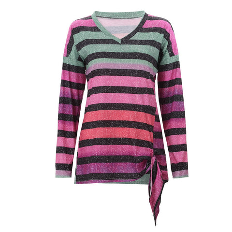 Multicolor Striped Pattern Women casual V-Neck Tee - the-american-pandaa