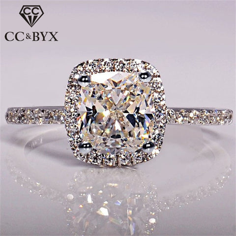 CC 925 Sterling Silver Rings For Women Bridal Wedding Anelli Trendy Jewellery Engagement White Gold Color Anillos Mujer CC595 - the-american-pandaa