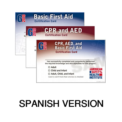 ASHI Basic First Aid Certification Cards & Student Handbooks - Spanish Materials (2015 Version)