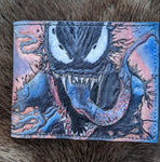 One of a Kind Hand Painted Venom Wallet - Bad Mood Leather Studio