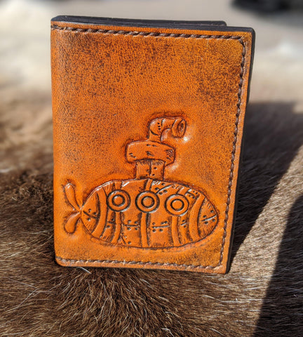 Hand Tooled Steampunk Submarine Card Wallet