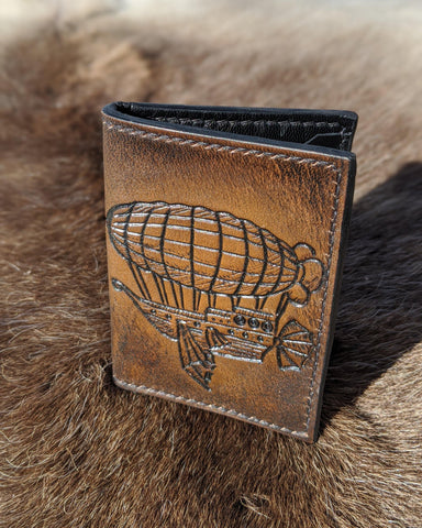 Steampunk Airship Minimalist Card Wallet - Bad Mood Leather Studio