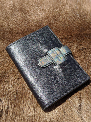 Spaced Invader! Holographic Leather Passport Wallet - Bad Mood Leather Studio