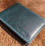 Turquoise Slim Bi-fold Wallet - Bad Mood Leather Studio