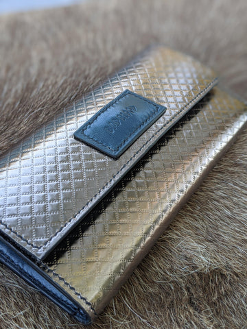 Quilted Metal: 18 Pocket Clutch Wallet - Bad Mood Leather Studio