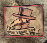 "Hand Tooled ""Wash Your Hands"" Plague Doctor Leather Sign - Bad Mood Leather Studio"