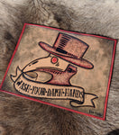 "Hand Tooled ""Wash Your Hands"" Plague Doctor Leather Sign"