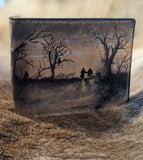 The Trees Have Eyes: Horror Themed Leather Bi-Fold Wallet - Bad Mood Leather Studio