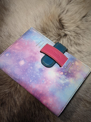 Bright Space: Printed Leather Passport Wallet