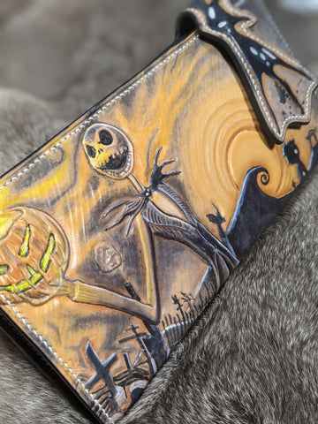 Nightmare Before Christmas Inspired Leather Long Wallet