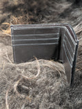Field of Skulls: Hand Dyed Leather Bifold Wallet - Bad Mood Leather Studio