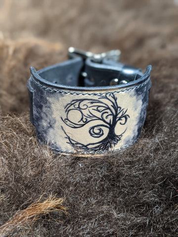 Tree of Life : Hand Dyed Interchangeable Leather Cuff - Bad Mood Leather Studio