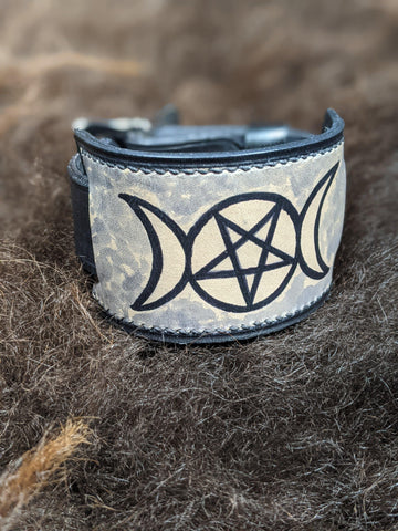 Triple Moon: Hand Dyed Interchangeable Leather Cuff