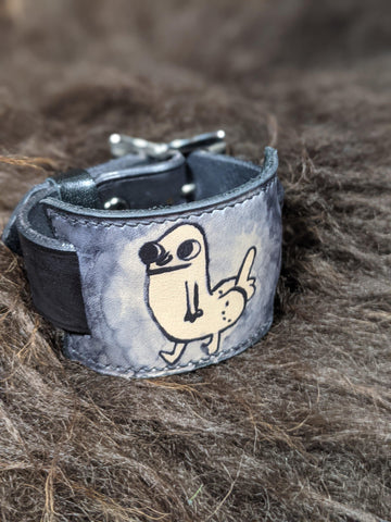 DickButt: Hand Dyed Interchangeable Leather Cuff - Bad Mood Leather Studio