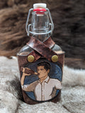 Made to Order: Hand Painted Archer Leather Wrapped Glass Flask - Bad Mood Leather Studio