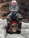 Hand Painted Skull and Bones Leather Wrapped Glass Flask - Bad Mood Leather Studio