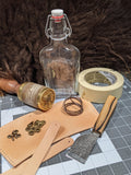 DIY Leather Wrapped Glass Flask Kit: Brass Hardware - Bad Mood Leather Studio