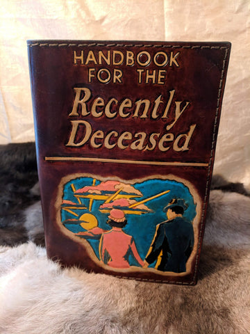 Hand Tooled Leather Refillable Journal:  Handbook for the Recently Deceased - Bad Mood Leather Studio
