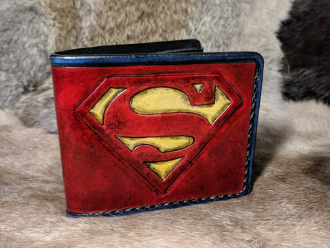 Superman Inspired Hand Tooled Leather Wallet