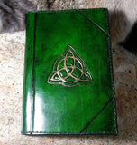 Celtic Themed Hand Tooled Leather Refillable Journal
