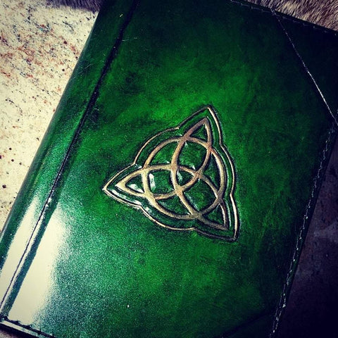 Celtic Themed Hand Tooled Leather Refillable Journal - Bad Mood Leather Studio
