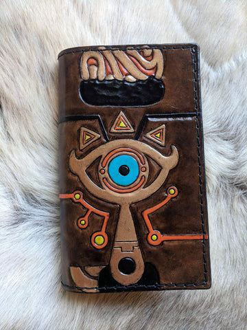 Legend of Zelda Inspired Sheikah Slate Hand Tooled Leather Refillable Journal - 4x6
