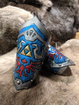 Hand Tooled Leather Hyrule Shield Bracers