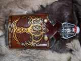Hand Tooled Tree of Life Extra Large Leather and Glass Flask