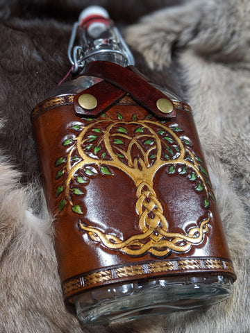 Hand Tooled Tree of Life Extra Large Leather and Glass Flask - Bad Mood Leather Studio