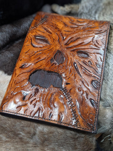 One of a Kind Hand Tooled Leather Necronomicon - Bad Mood Leather Studio