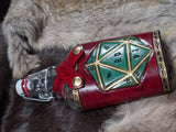Hand Tooled D20 Leather and Glass Flask