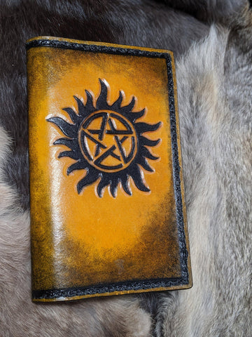 Supernatural Inspired Hand Tooled Leather Journal - Bad Mood Leather Studio