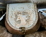 The Last Unicorn Inspired Hand Tooled Leather Bag - Bad Mood Leather Studio