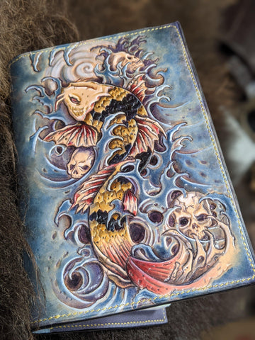 One of a Kind Koi Field Notes Journal - Bad Mood Leather Studio