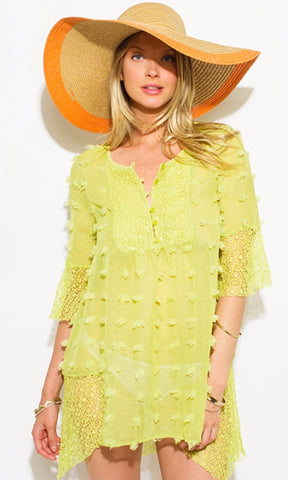 Lime Green Sheer Gauze Pom Pom Textured Boho Beach Cover up Tunic top