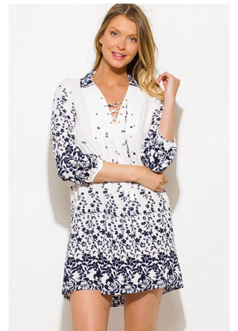 Dress White and Navy Blue Floral Print Quarter Sleeve Boho Mini Shirt