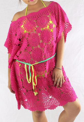 Cover up Vintage Crochet Tunic Fuchsia