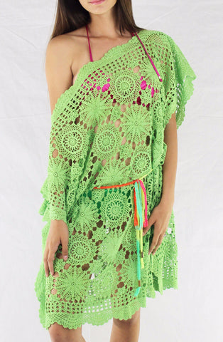 Vintage Crochet Cover-up Lime Green